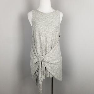 Lou & Grey | Tie Front Heather Gray Sleeveless Top